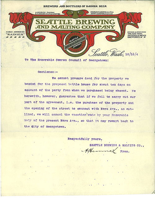 Letterhead from Seattle Brewing Company, 1904. From Wikimedia Commons