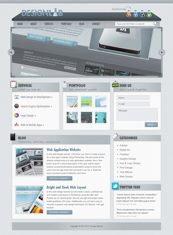 Create a Modern Lab Theme Web Design in Photoshop