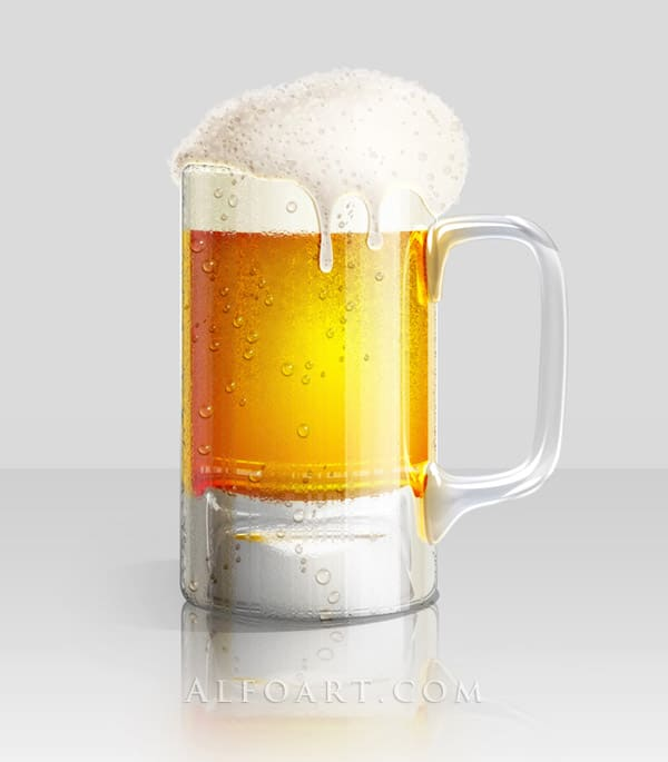 Cold Beer Glass Illustration. Foam texture and dewy glass effect