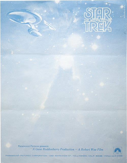 Gene Roddenberry's letterhead, circa 1979, the year the first Star Trek film was released. From Letterheady