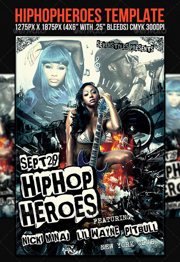 HipHopHeroes Flyer Template
