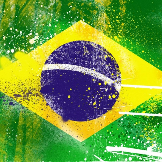 Grunge Brazil Flag - iPad Wallpaper