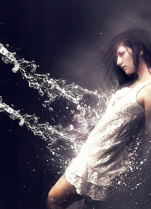 Create a Water Girl Photo Manipulation Mixing with Splatter Brushes in Photoshop