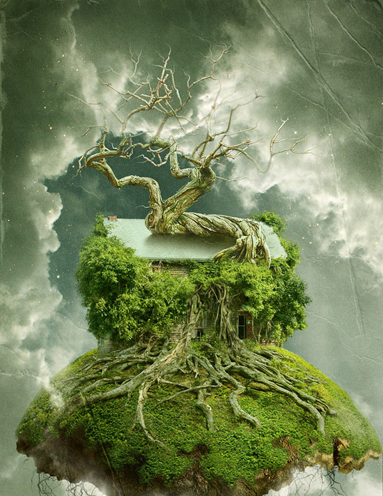 """Create a Floating Over-Grown """"Tree House"""" in Photoshop"""