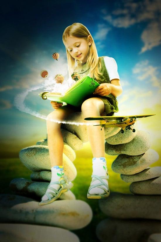 Photo Manipulate an Explosive Magical Reading Scene