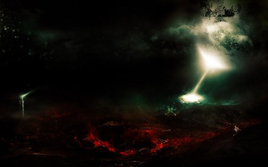 Create Epic Surreal Volcanic Wasteland Matte Painting in Photoshop