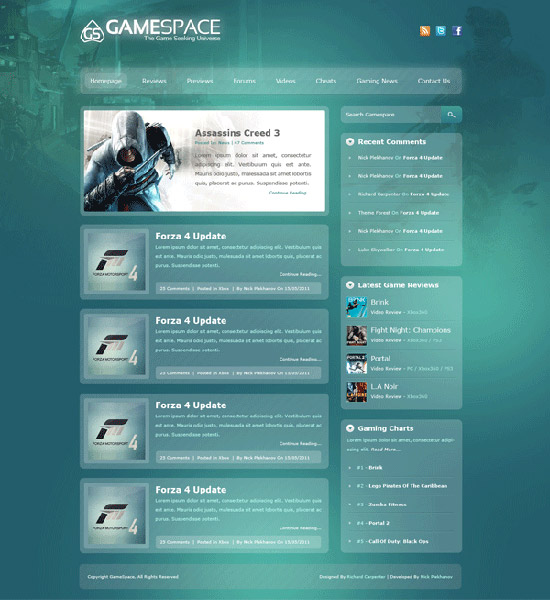 Freebie: WordPress Games Layout PSD