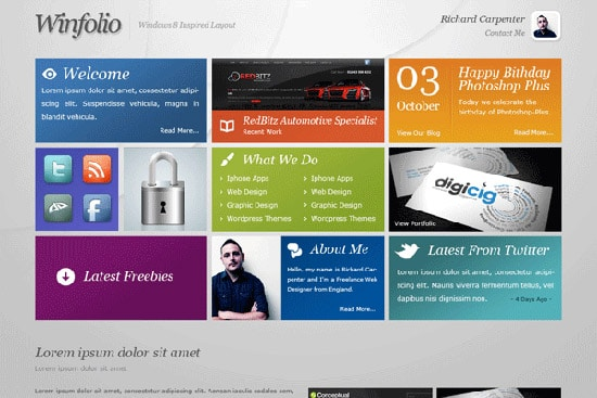 Windows 8 Inspired Portfolio Layout