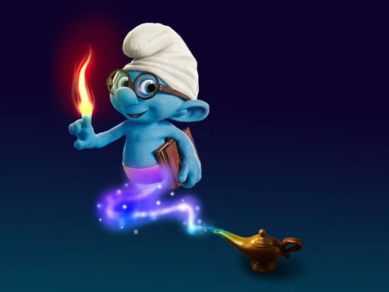 Make smurf wallpaper with photoshop montage
