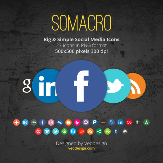 Somacro: 27 300DPI Social Media Icons by vervex