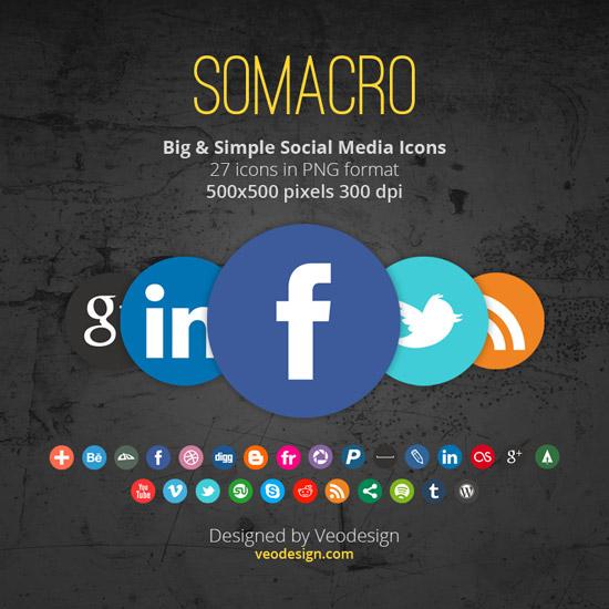 Somacro: 27 300DPI Social Media Icons by vervex