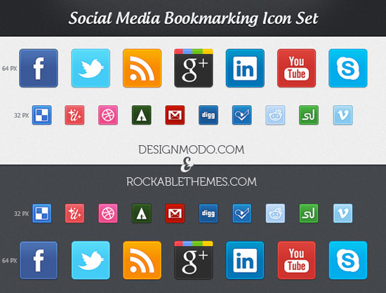 Exclusive New Free Social Media Bookmarking Icon Set