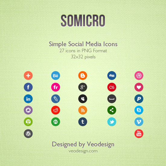 Somicro: 27 Social Media Icons by vervex