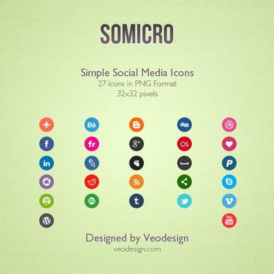 Somicro: 27 Social Media Icons by vervex