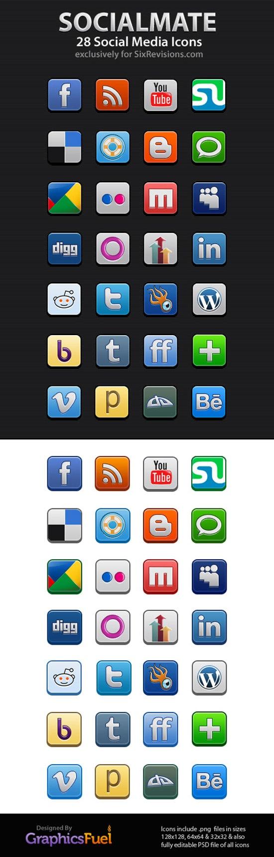 SocialMate: 28 Free Social Media Icons (Includes PSDs)