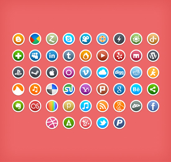 Round Social Media Icons by umar123
