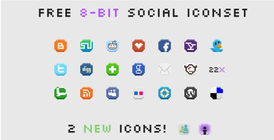 8-Bit Social Media Icons by StiligeCecilie