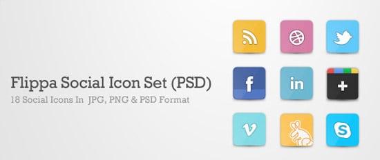 Flippa Social Icon Set (PSD)