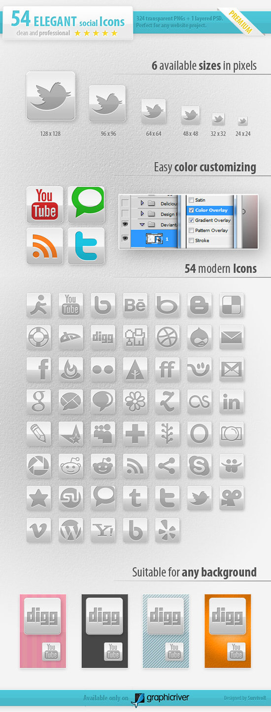 54 Social Media Icons Elegant by survivorcz