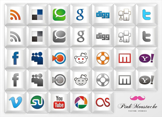 "New free social icon set: ""Key icons"""