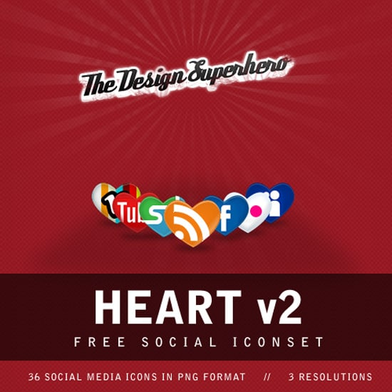 Heart v2: Free Social Iconset in Heart Shape