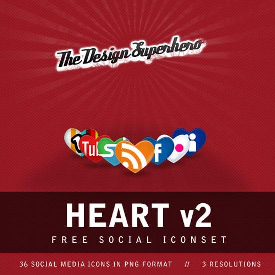 Heart v2: Free Social Iconset in Heart Shape