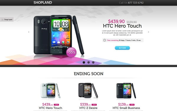 Shopland Landing page - Infinite Countdown offers