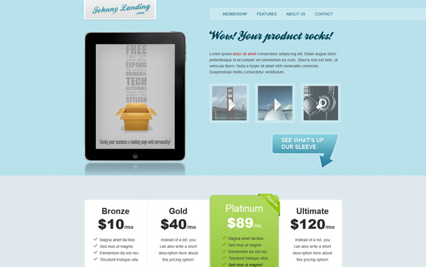 The Johnny Landing Page