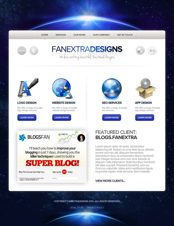 Design a Space Themed Portfolio Landing Page