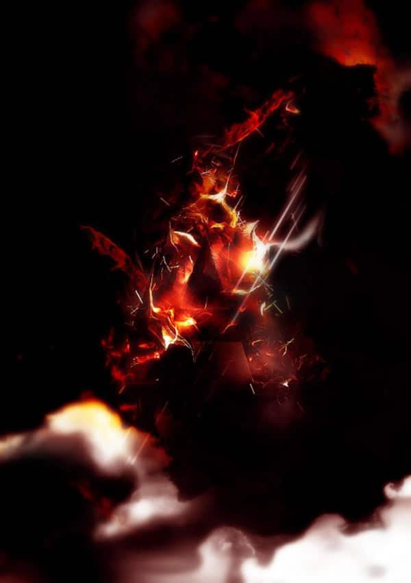 Design an Interesting Fire Text Effect with Particles in Photoshop