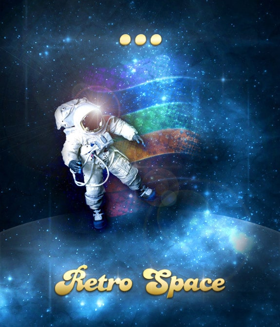 Design a Retro Futurism Space Scene Poster