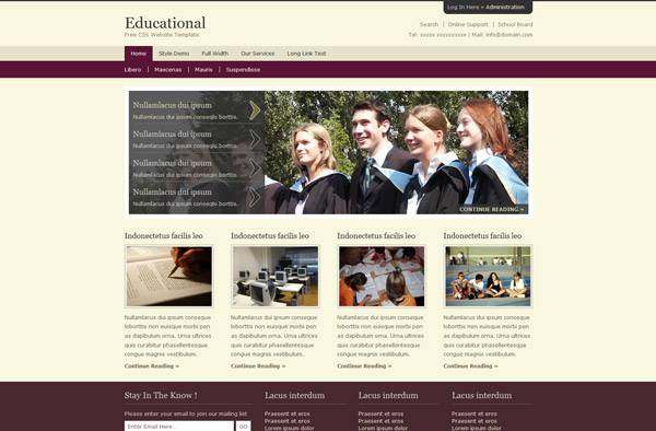 Educational Free Website Template Html Templates