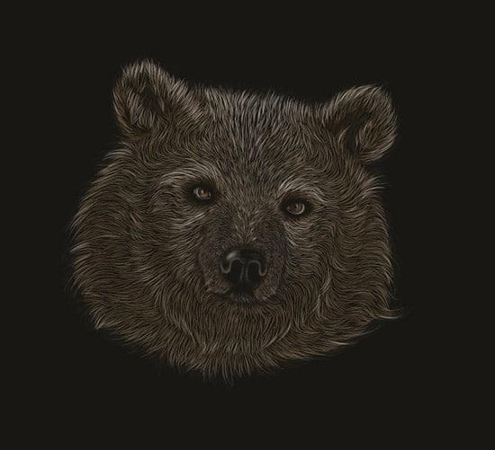 How to Create a Scratchboard Effect Bear Portrait