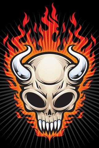 Flaming Skull iPhone Wallpaper