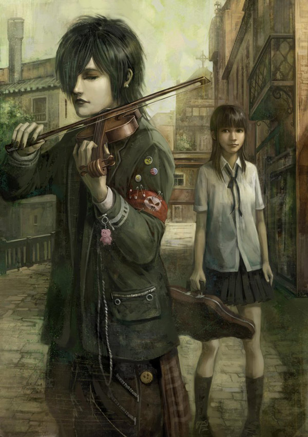 Violinist and Schoolgirl