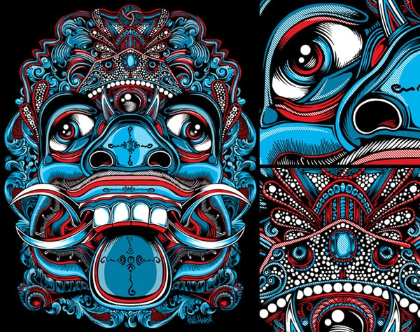 Balinese Demon T-shirt: Ghost Blue Colorway