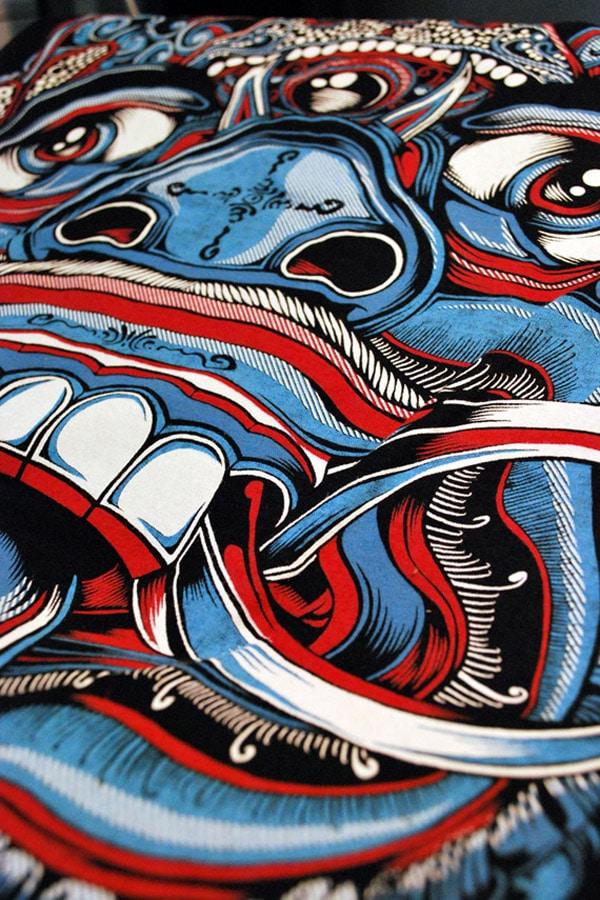 Balinese Demon T-shirt: Ghost Blue Colorway