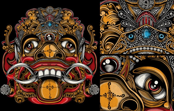 Balinese Mask Artwork, T-shirt & Pillows
