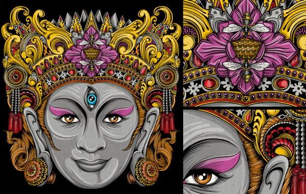 Balinese Mask Artwork, T-shirt & Pillows