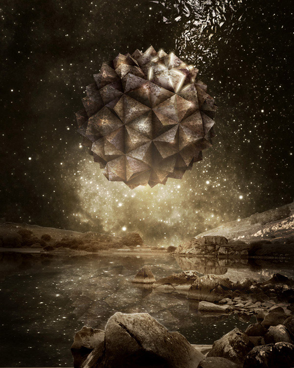 Create a Surreal Floating Stone Structure Scene