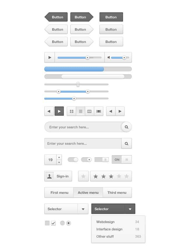 Resource for designer Cloudy Ui kit