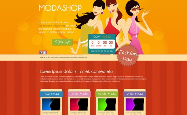 Modashop - Attractive Landing Page Template