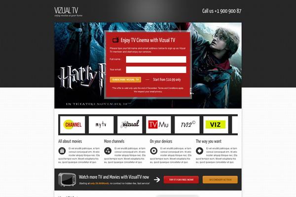 Vizual-tv TV Film movies landing page