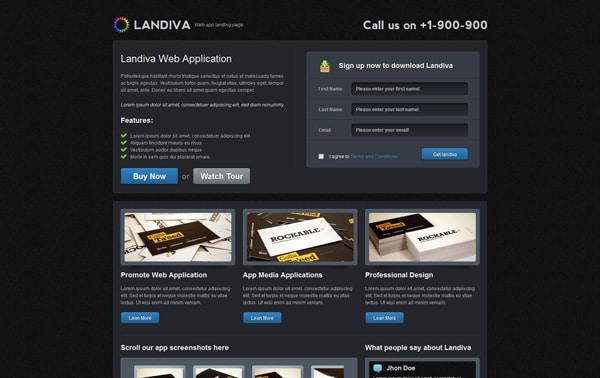 Landiva landing page