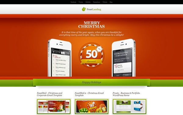 Feast Landing - Responsive, Christmas landing page