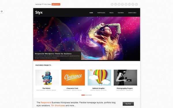 Styx Responsive Design for Business Portfolio