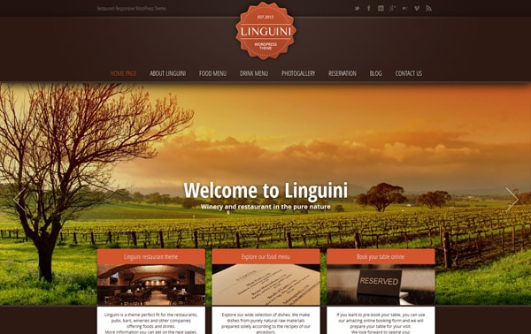 Linguini: Restaurant Responsive WordPress Theme