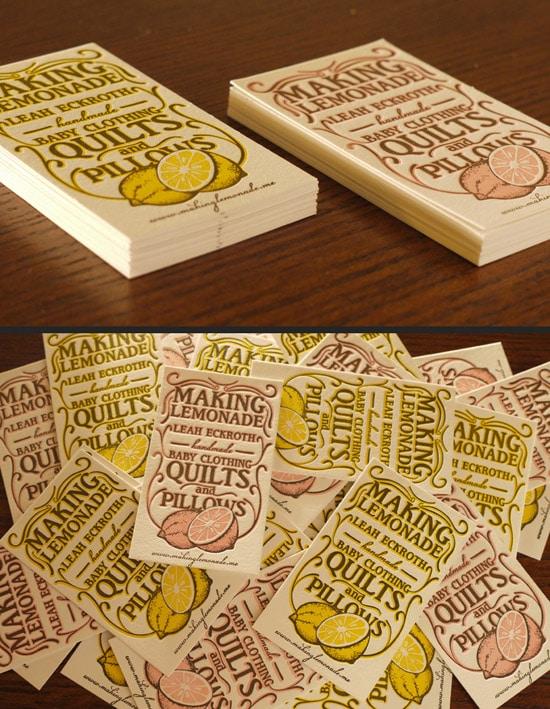 Letterpress Lemonade Business Cards