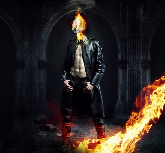 Photo Manipulate a Kick Ass Flaming Skull Scene