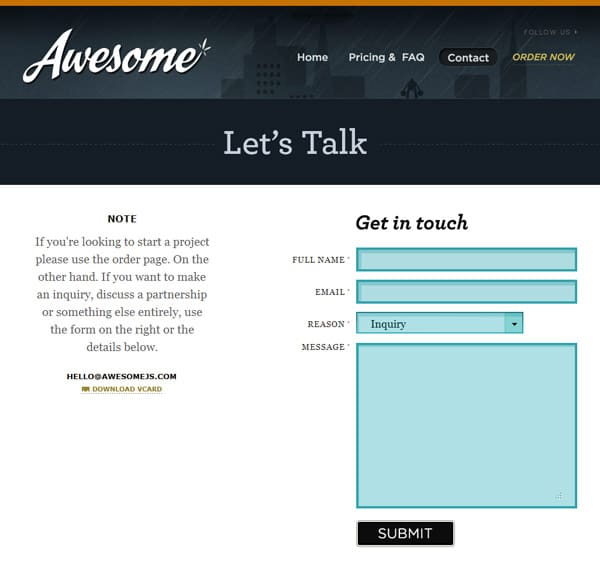 Examples Of HTML Contact Forms In Web Design - designrfix.com